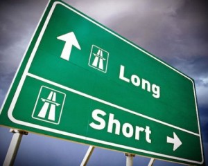 Long and short exits on highway sign