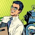 Man beats robot business concept knowledge and technology