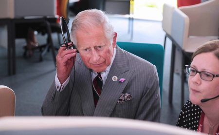 HRH Prince of Wales officially opens the Moneypenny centre at Wrexham. Listening to a customers call with team manager Ashley Tatton. Friday 140717